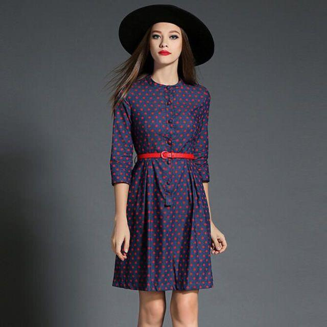 Новая-Мода-Фиолетовый-Горошек-Denim-Dress-Vestidos-Mujer-2017-Женщины-Хлопок-Рубашка-Dress-Девушку-Осень-Dress