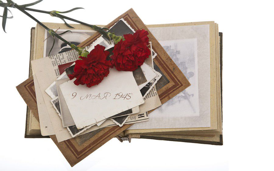 album with Vintage photos and two Red carnation flowers on white background